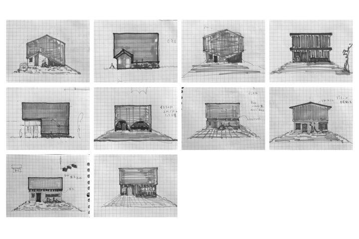 カフェ兼用住宅の外観デザインの検討